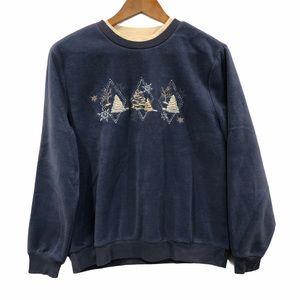 Vintage Winter Cottagecore Fleece Sweatshirt M